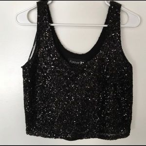 Forever 21 Black Sequin Crop Top Blouse